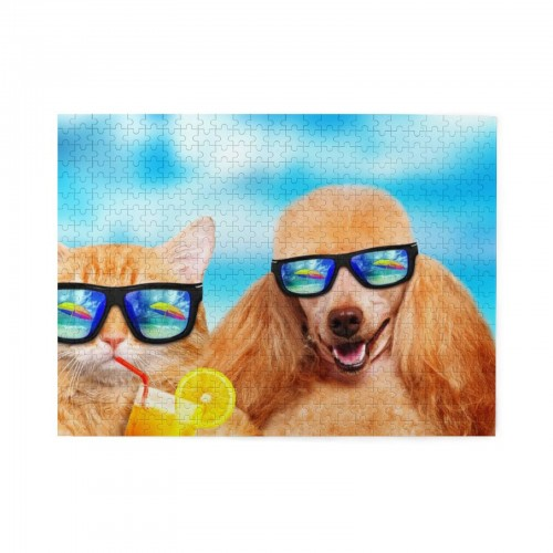 Funny Cat And Dog Sunglasses Drinks Wooden Puzzles,Fun Puzzles,Decompression puzzles family leisure,500PCS,Wooden.