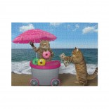 Cats Sell Doughnuts Wooden Puzzles,Fun Puzzles,Decompression puzzles family entertainment,500PCS,Wooden.